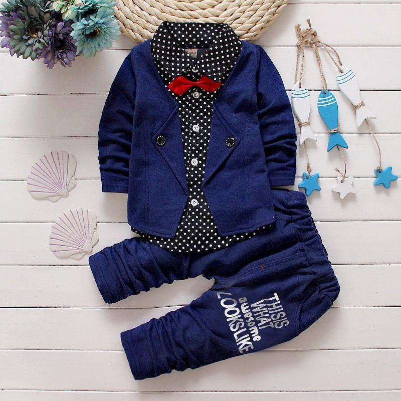 Set di abbigliamento per bambini della primavera autunno 2018 nuova maglietta per ragazzi di moda bambino falsi abiti a tre pezzi abito per bambini abiti per ragazzi