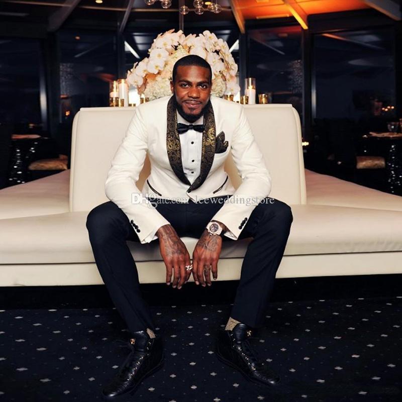 White Floral Pattern Shawl Lapel Men Suits Wedding Suits Best Man Slim Fit Bridegroom Groom Tuxedos Groomsmen Prom Custom Made Jacket+Pants