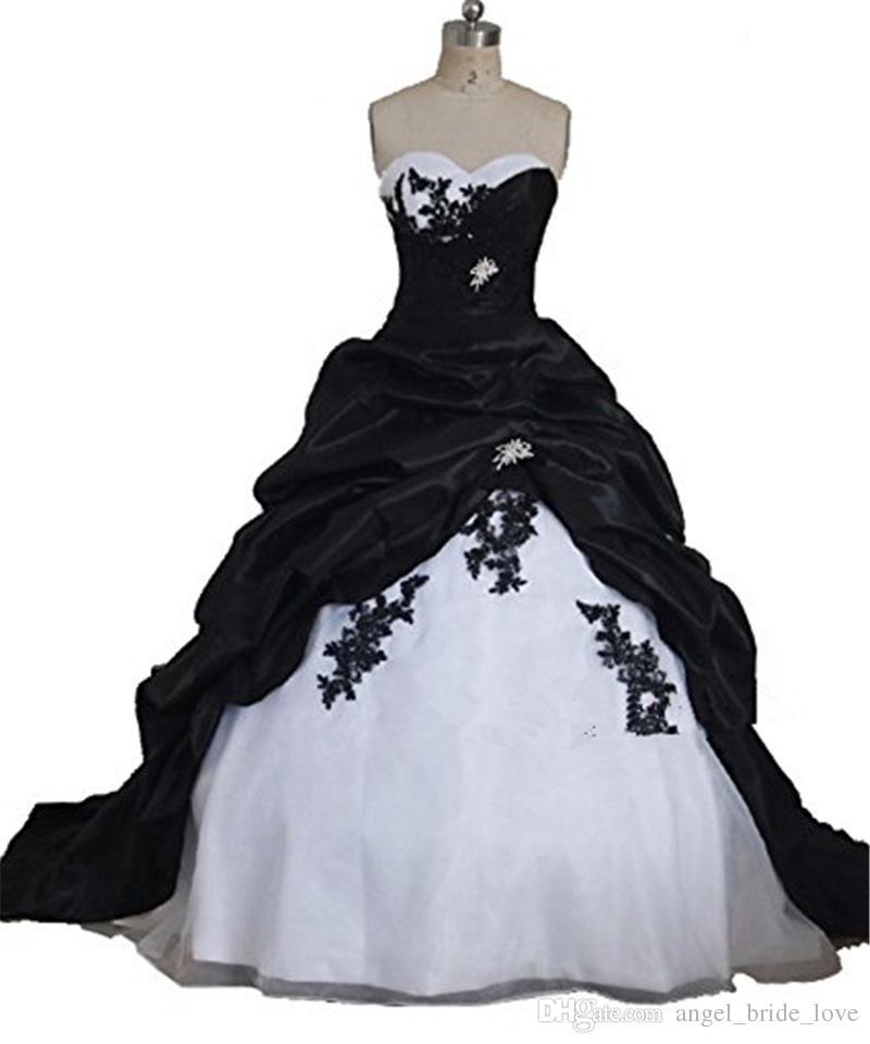 2018 Moda Czarno-czerwone Aplikacje Suknie ślubne A-Line z Tafta Lace Up Plus Size Suknie Ślubne Vestido de Novia BA05