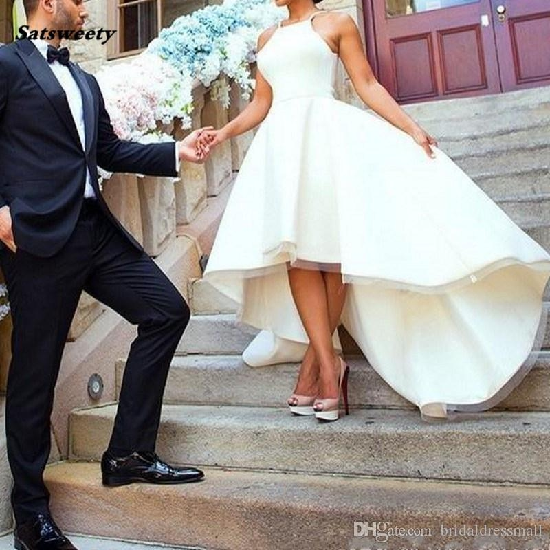 Matrimonio romantico vestito lungo floor-lunghezza maniche Vestidos De Noiva Hi Abiti da sposa a basso casamento su ordine