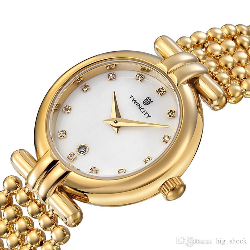 BRW marca nova pérola pulseira de diamantes rosto de luxo relógio de quartzo das mulheres relógio de pulso automático data esportes relógios de lazer