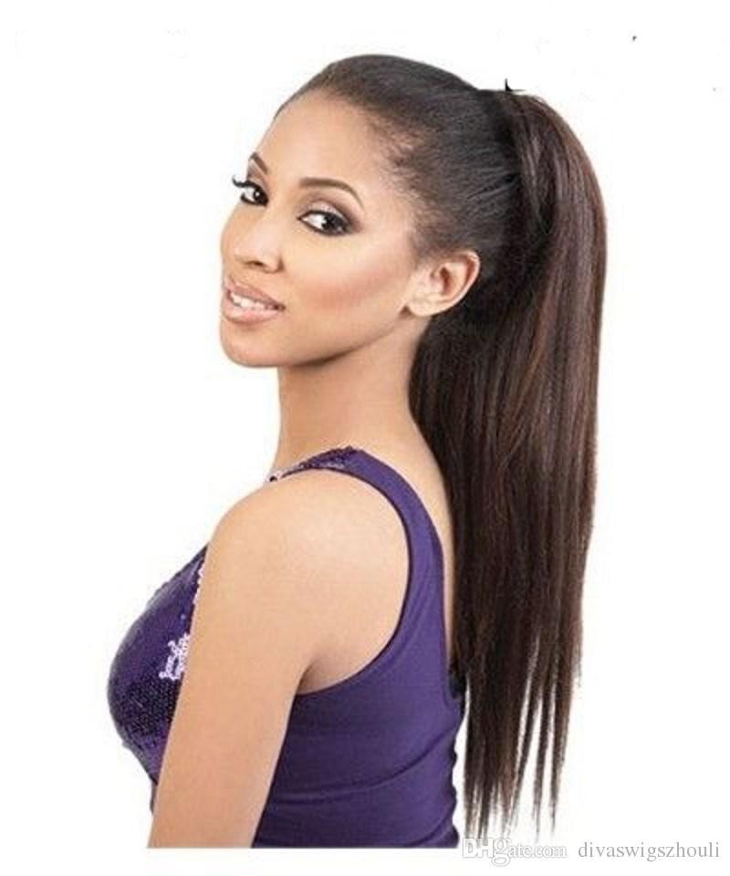 African american Wrap around KINKY straight ponytail hairpiece 1b clip in Human hair italian yaki coarse yaki Drawstring ponytails extension