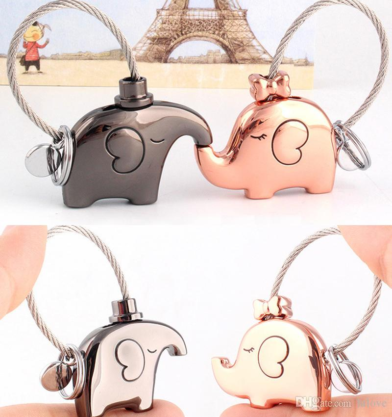 Elephant Keychains Keyrings For Lovers Gift Women's Bag Pendant - Couples Car Key Ring Chains Holder valentines Gift Wedding Favor