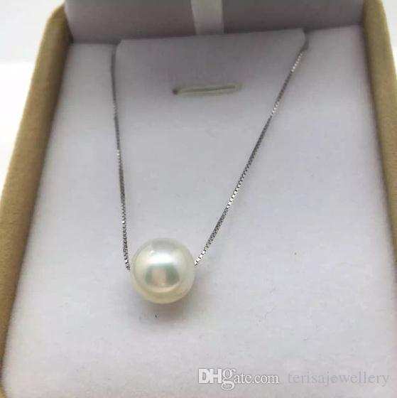 40cm 7-8mm vera perla collana in argento, gioielli in perle bianche, matrimonio, amore, festa della mamma