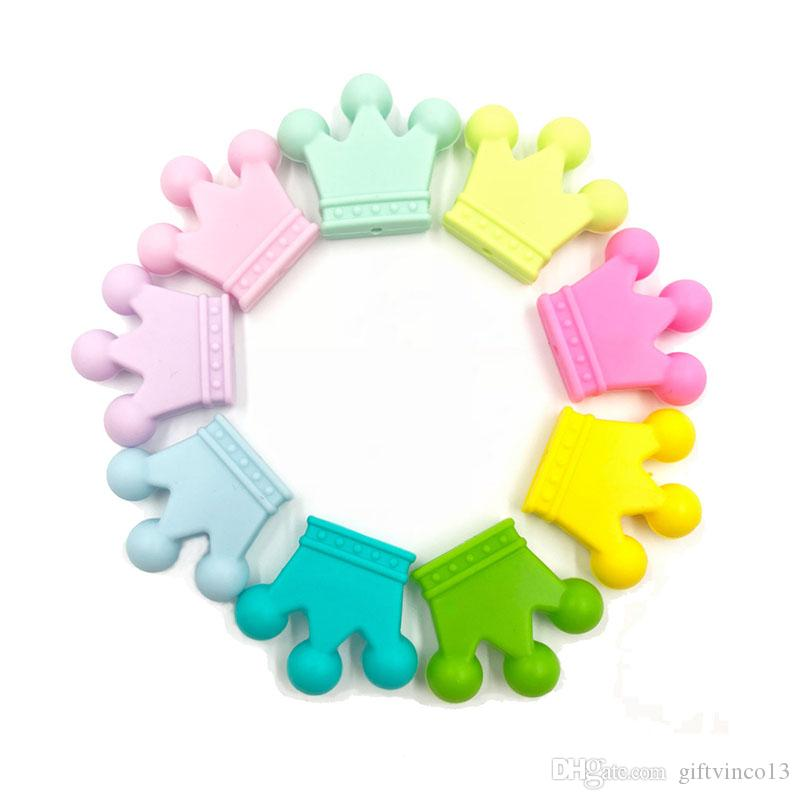 50PCS Mini Crown Beads Food Grade Silicone Baby Teething Toy DIY Baby Chew Necklace Pacifier Clip Loose Beads Nursing Teethers
