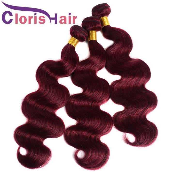 Dégagement Cheveux Vierges Malaisiens Bourgogne Extensions de Cheveux Vague de Corps Vin Pas Cher Vin Rouge Double Machine Trame 99J Ondulé Coloré Tisse Offres