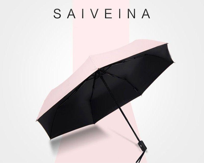 Fashion White Auto Open Auto Close Umbrella Rain Women Men 3 Folding Automatic Umbrella Black Coating Sun Umbrella7