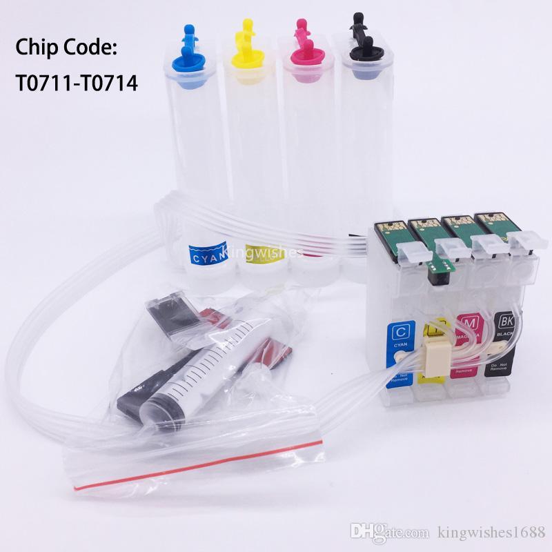 T0711 CISS Vazio Com Chip Para Epson DX7450 DX7450 DX7450 DX8450 DX9400 DX9400X SX100 SX200 SX200 SX400 SX400