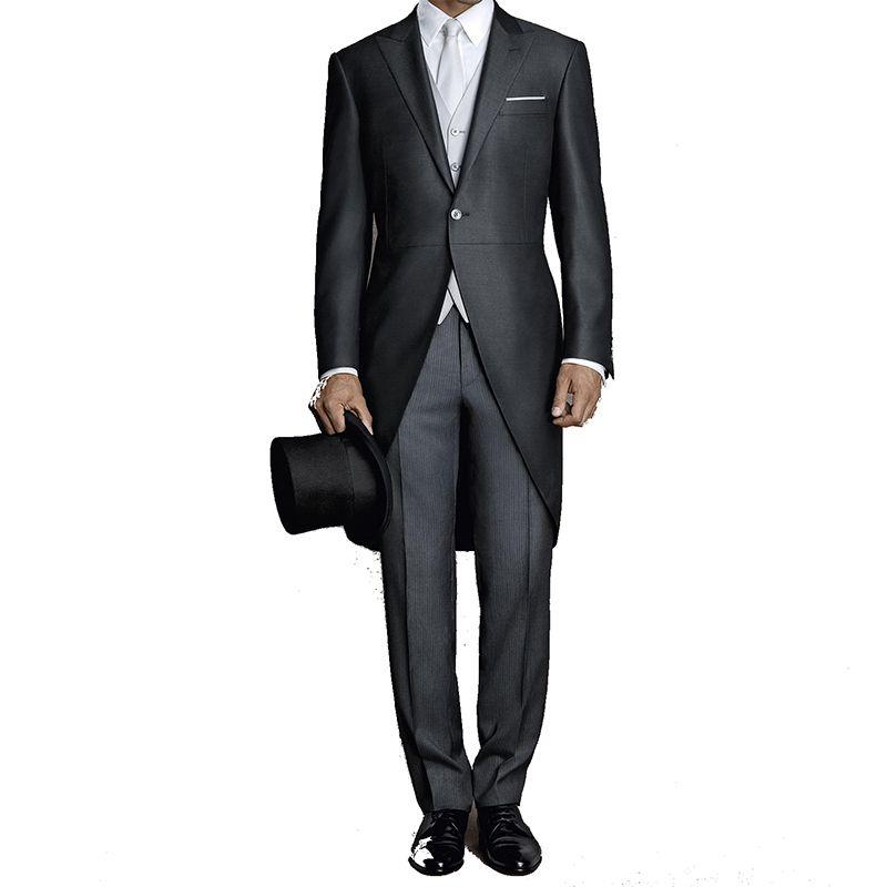 Black Tailcoat Men Suit Wedding Custom Made Groom Tuxedo Formal Male Blazer Slim Fit Groomsmen Bridegroom Suit 3 Pieces Jacket+Pants+Vest