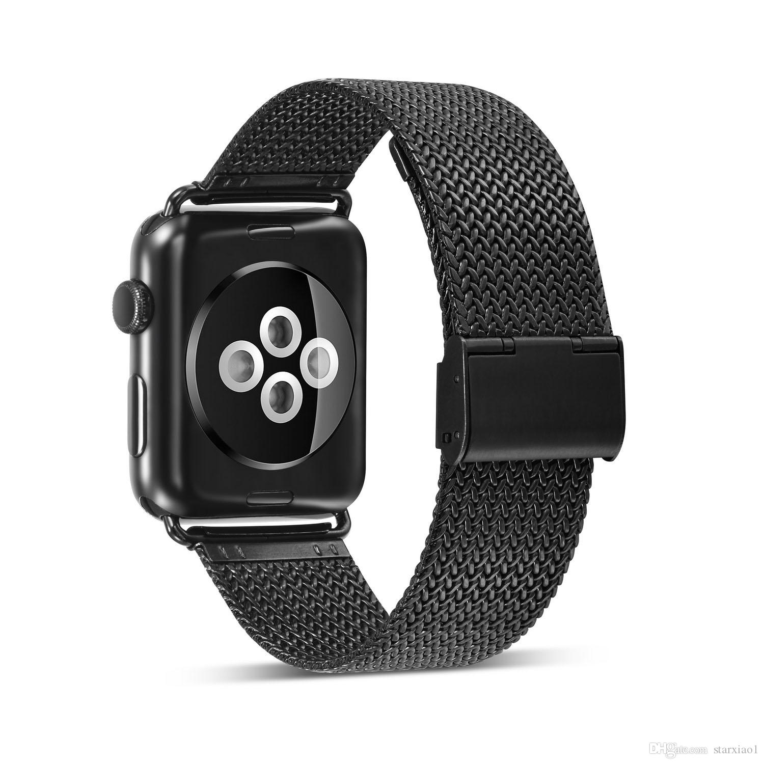 Double Buckle Milanese Loop Stainless Steel Watchband for Apple Watch Series 4/3/2/1 42mm 38 mm Strap For iwatch Band 40/44mm