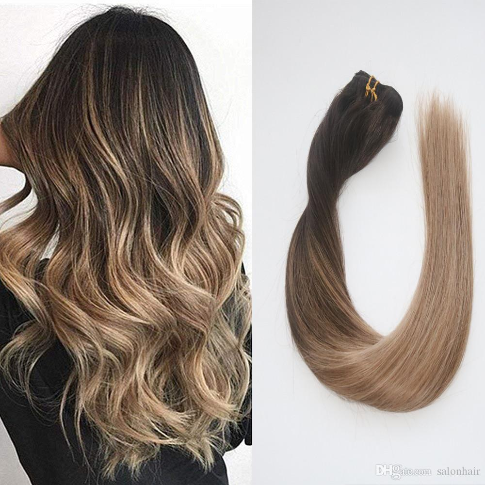 Balayage Ombre Hair Extensions Remy Human Hair Of Clip In Hair Extensions  Color Dark Brown To Ash Blonde Silky Straight 120g Good Quality Hair