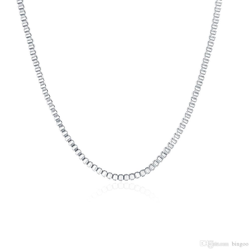 الأزياء والمجوهرات سلسلة فضية 925 قلادة مربع سلسلة 2MM للنساء فتاة 16 18 20 22 24 بوصة