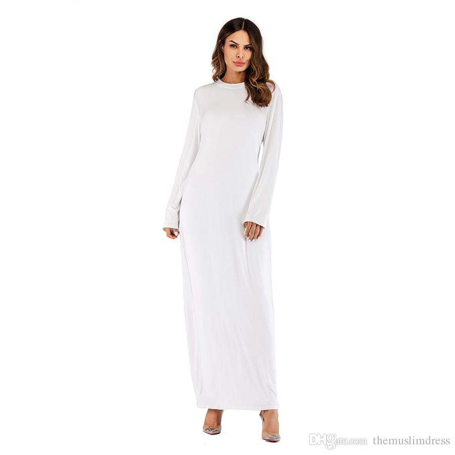 Wholesale Women Long Sleeved Maxi Dress S 2XL Plus Size Women Round Neck  Solid Color Modal T Shirt White Dress Womens Short Long Dress From ...