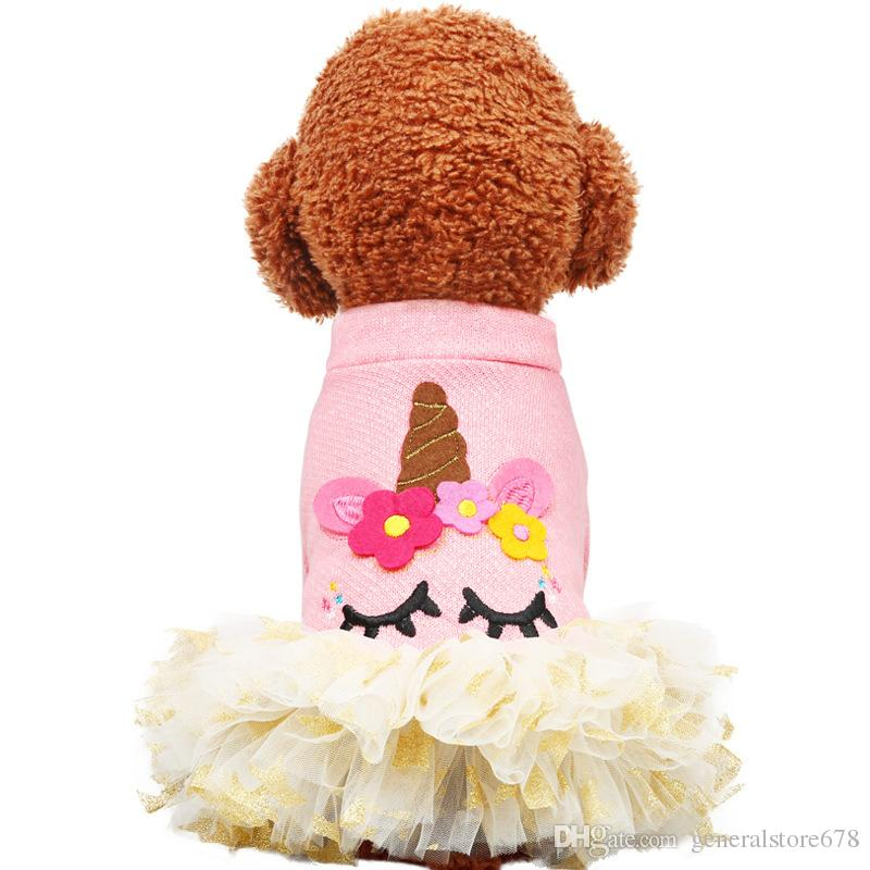 Dog Rompers New Originality Dogs Dresses Outdoor Clothes Pet Apparel Sweatshirts Unicorn Pets Supplies Cheap Wholesale
