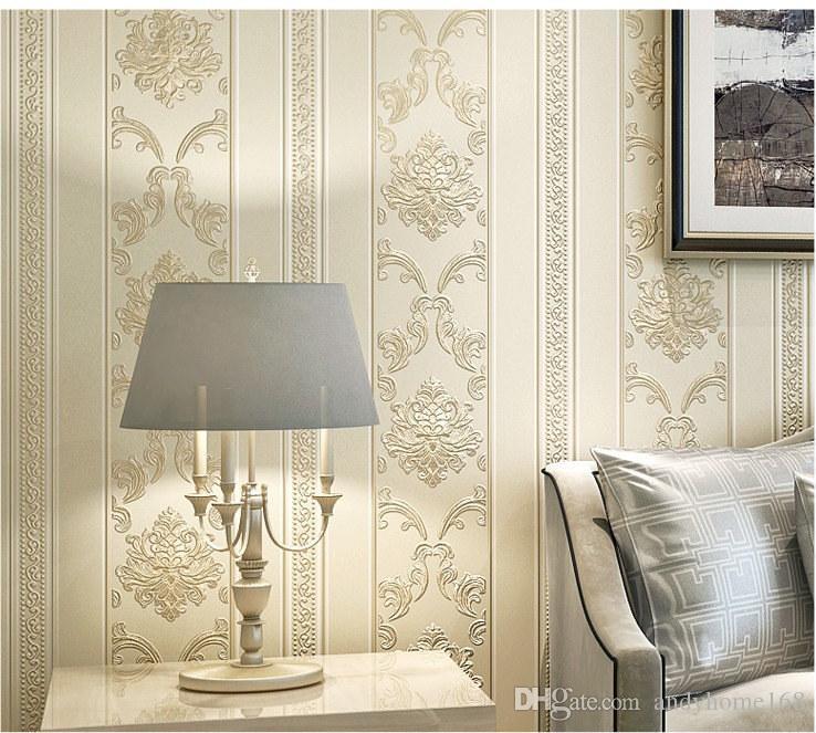 Großhandel Moderne Luxus Häuser Dekor Europäischen Striped Damast Tapete  Für Wände Schlafzimmer Wohnzimmer Geprägte Grau Beige Tapeten Brötchen Von  ...