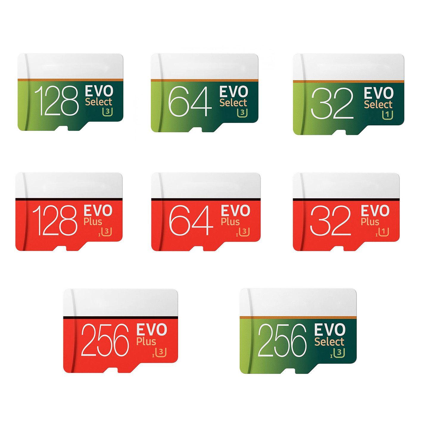 EVO Plus VS EVO Select 256GB 128GB 64GB 32GB SD 마이크로 메모리 TF 트랜스 플래시 카드 고속 카메라 스마트 폰