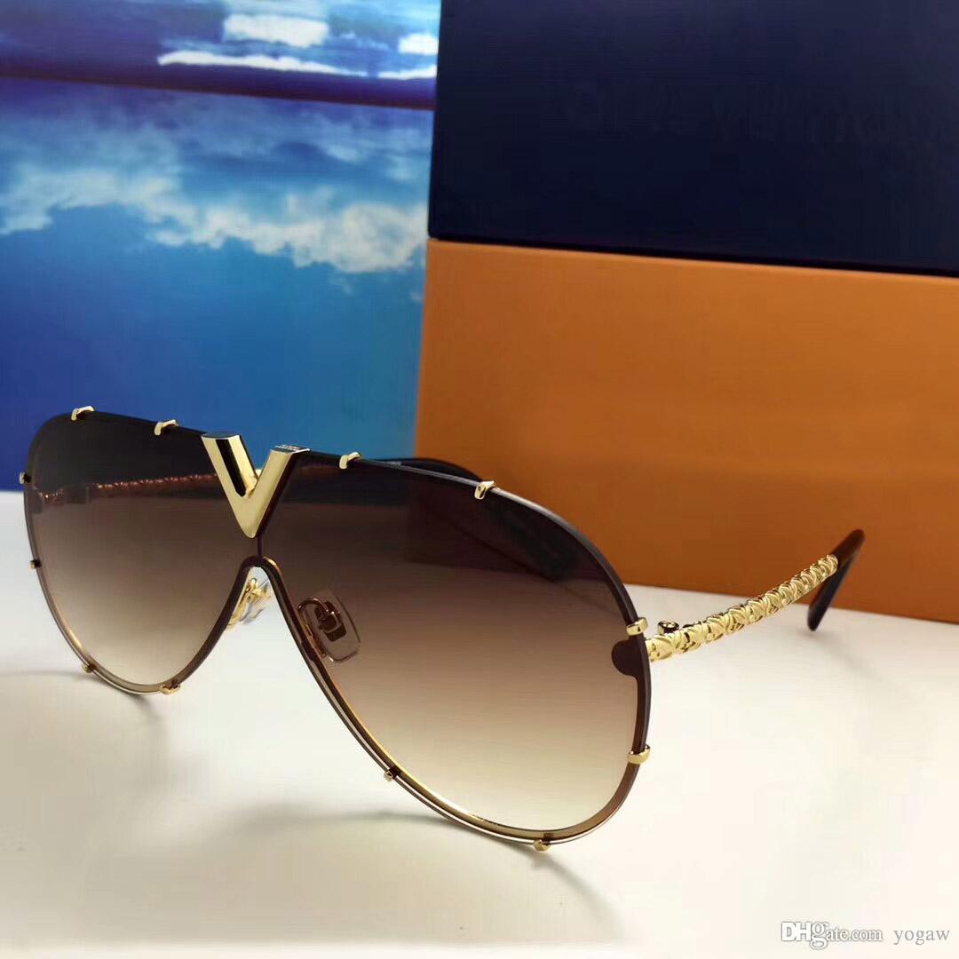 Sonnenbrille con de Gafas Nuevos Hombres piloto Nlalb Caja Sombreada Gafas de sol Forma Sol Gafas de sol Brown Classic Gold NLQXi