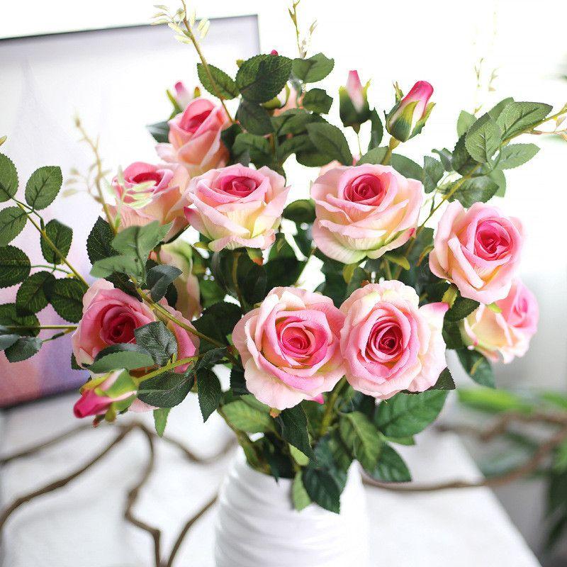 87CM franela rosa flores artificiales 4 colores 3 cabezas decoración de la boda de flores artificiales para el hogar estilo europeo