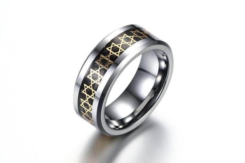 Fibras de carbono negras de carburo de tungsteno Seis puntas con un símbolo de estrella Bandas de boda de borde biselado para hombres Tamaño 7-12