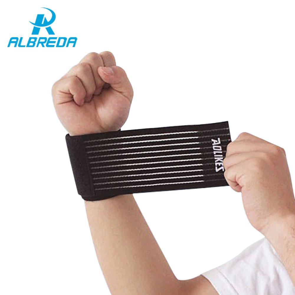 Albreda 5 Peça Elástica Esporte Bandagem Pulseira Mão Ginásio de Apoio Wrist Brace Envoltório de Tênis de Algodão Weat Banda de Fitness Powerlifting
