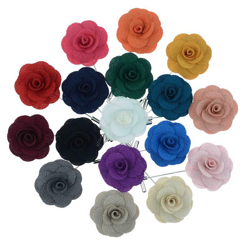 Hot Revers Blume Mann Frau Camellia Handgemachte Boutonniere Stick Brosche Herren Accessoires in 22 Farben