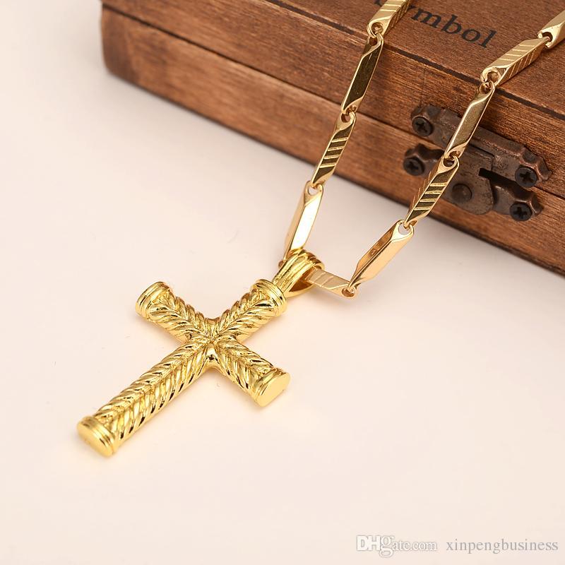 14 k Sólido oro fino GF encantos líneas collar colgante HOMBRES mujeres cruz fábrica de joyería cristiana fábrica wholesalecrucifix regalo de dios