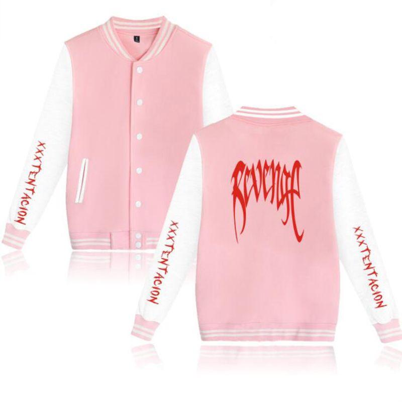 Zemsta XXXTENTAcion Baseball Jednolite Kurtka Płaszcz Mężczyźni Kobiety Harajuku Bluzy Zima Moda Hip Hop Pink Hoodie Outwear 4XL