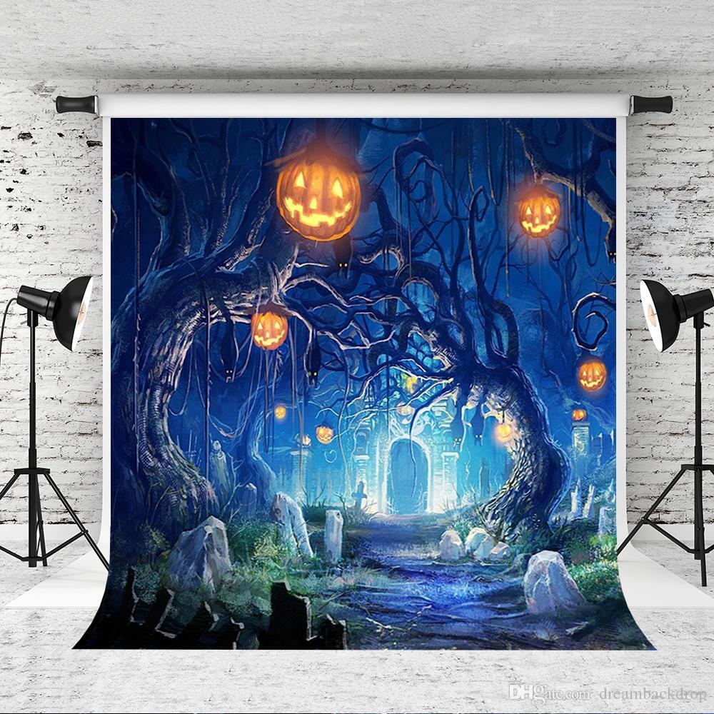 Sonho 5x7ft Halloween Vinyl Photography Backdrops Castelo de Fundo Antigo Árvore Horror Quintal para o Partido Decoração Estúdio