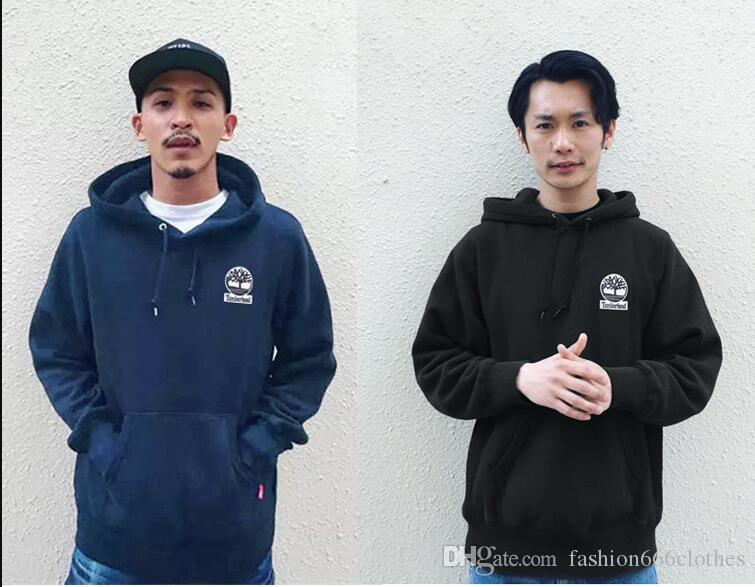 Hong Kong Style Hip-Hop Herbst und Winter Paare Köpfe Gezeiten Marke Kapuzenpullover Männer Bäume Logo Flamme Herren Designer Trainingsanzüge
