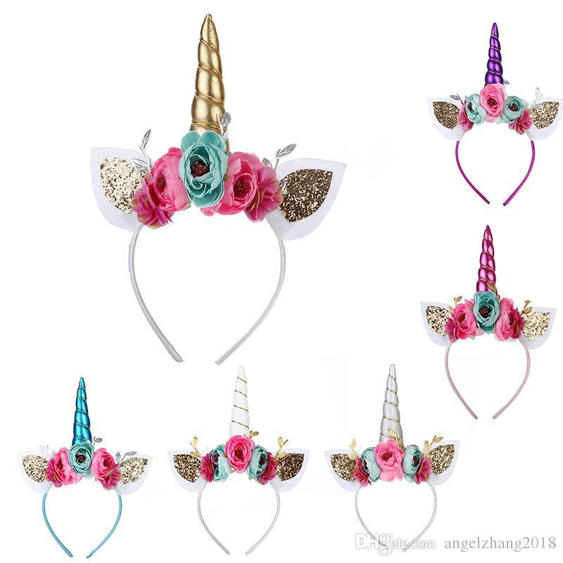 Hairbands Meninas Unicórnio Crianças Headband Para O Dia Das Bruxas Brilho Com Flor Unicórnio Páscoa Accessoriess Floral Headband Bônus de Festa