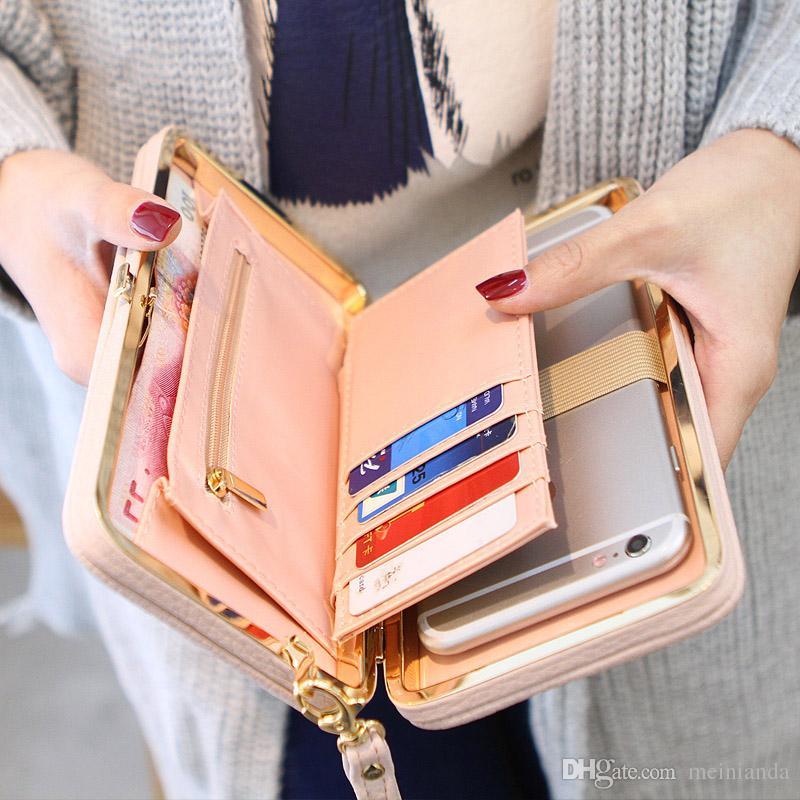 Bolsa Carteira Feminina Famosa Marca Cartão Titulares Celular Presentes de Bolso Para As Mulheres Saco de Dinheiro Embreagem Fácil de Transportar