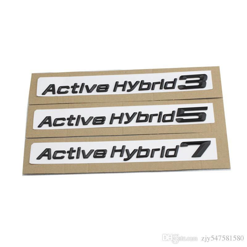 Nouveau 1 pcs 3D Chrome Argent et Noir Actif Hybride 3 5 7 Coffre Couvercle Arrière Emblèmes Badge Noir Lettres pour BMW 3-5-7 Série