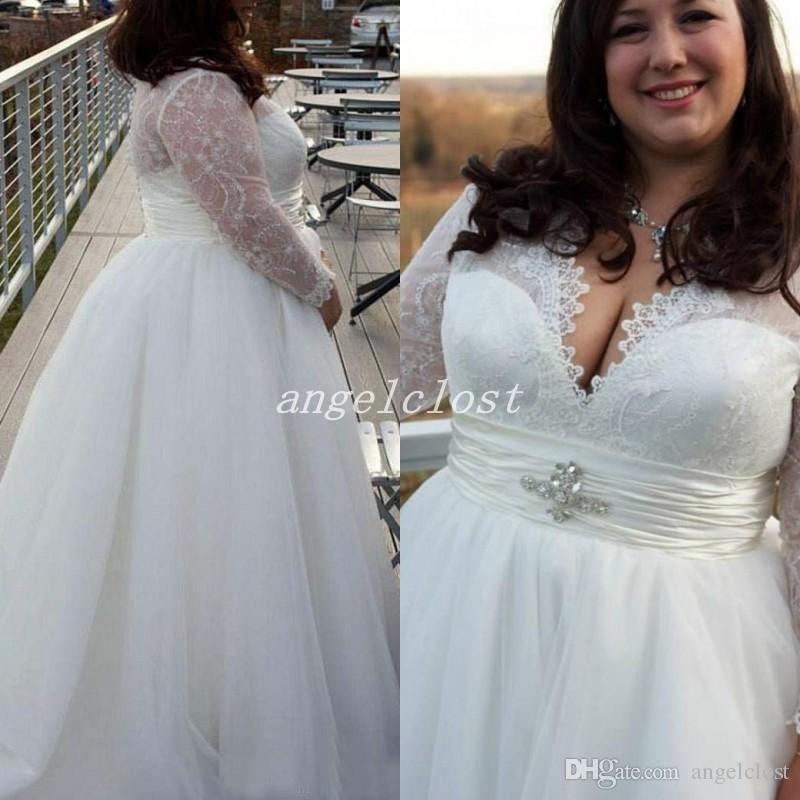 2018 Plus Size Wedding Dresses Long Sleeve Sweet Heart Lace Top Illusion Bodice Garden Country Beach Bridal Gowns robe de mariée