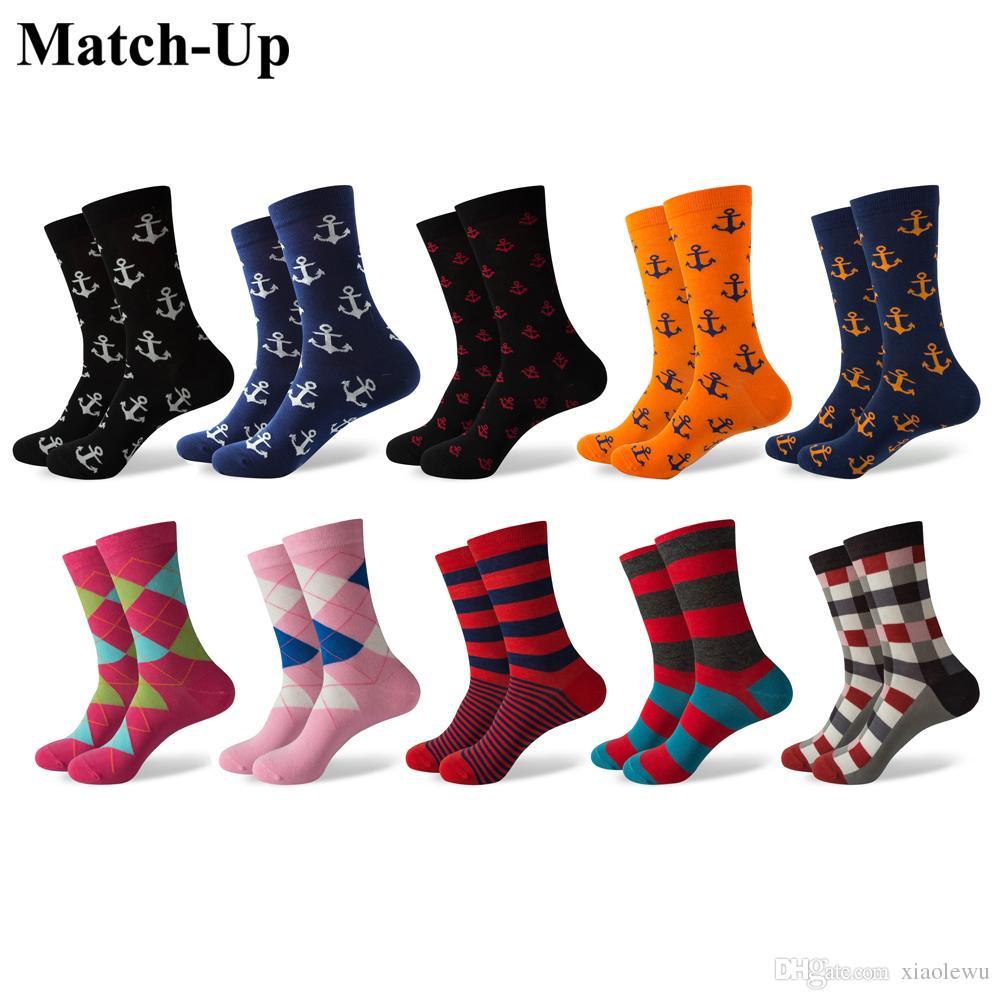Match-Up Erkek Çapa Stilleri ve Argyle penye pamuk mürettebat çorapları (10 çift / grup)