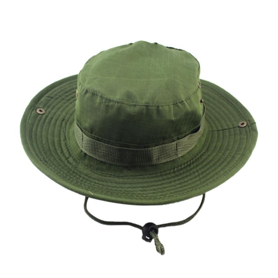 Outdoor Canvas Cap Panama Safari Boonie Adjustable Caps Camouflage Boonie Hats Nepalese Cap Army Mens Fisherman Hat