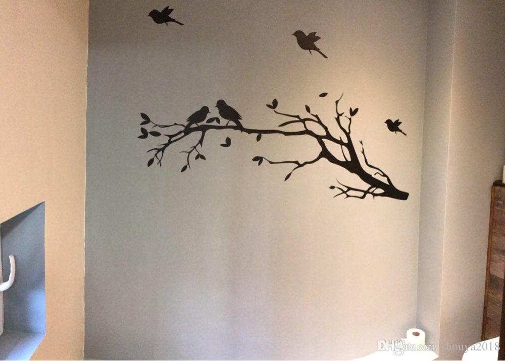 Tree Branch with 10 birds Wall Decal Deco Art Sticker Mural in DARK BROWN
