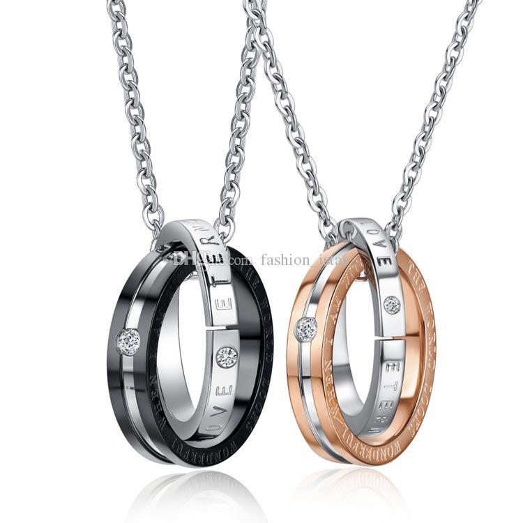 2 Estilo Anel Duplo Colar Para Os Amantes de Aço Inoxidável Titanium Colar de Diamantes Inlay Colar de Pingente de Aço Inoxidável Para a mulher / Homem Jóias