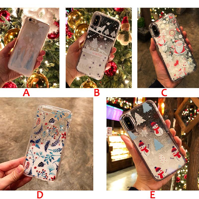 Snowflake Glitter Quicksand Christmas Phone Case for iPhone X 8 7 6s Plus case Xmas tree Santa Claus soft silicone Transparent Cover gifts