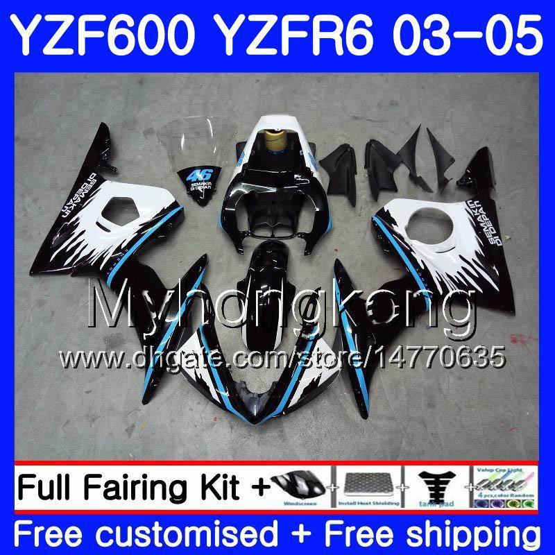 Corps pour YAMAHA YZF600 YZF R6 03 04 05 YZFR6 03 Carrosserie 228HM.1 YZF 600 R 6 YZF-600 YZF-R6 bleu cadre neuf 2003 2003 2005 Kit de carénages