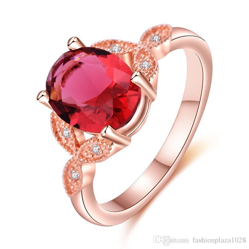 Comerci 10 pc ovale a mano granato rosso Rose Gold anelli di pietre preziose d'argento per la donna di cristallo Zirconia squilla i monili di formato 6 7 8 9