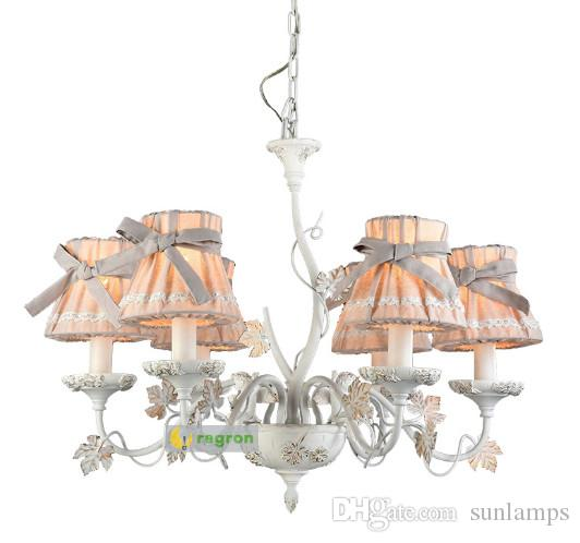 Regron Vintage Chandelier Lighting Led Butterfly Fabric Chandeliers Luster French Style Art Deco Hanging Lamp Lamp Living Room