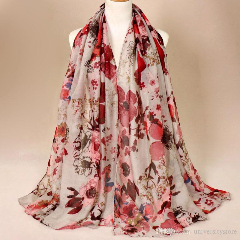 가을 겨울 패션 레트로 꽃 Viscose 목도리 스카프 숙녀 인쇄 Voile 포장 Pashmina 스톨 모자 180 * 85Cm