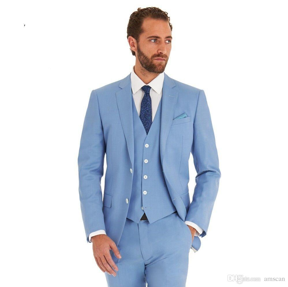 High Quality Sky Blue Men Wedding Suits Slim Fit Groomsmen Best Men Suits  Formal Prom Party Suits Jackets+Pants+Vest Groom Tuxedos Custom Men Formal