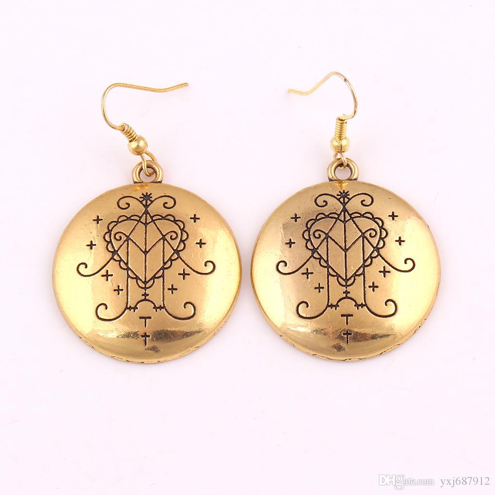 Silver Gold Color Ezili Freda Vodou Veve Pendant Loa Lwa Haitian Abundance Love Spirit Amulet Charm Earring
