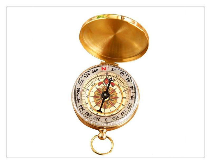 Outdoor Hiking Camping Pocket Compass Brass Luminous Navigation Compass
