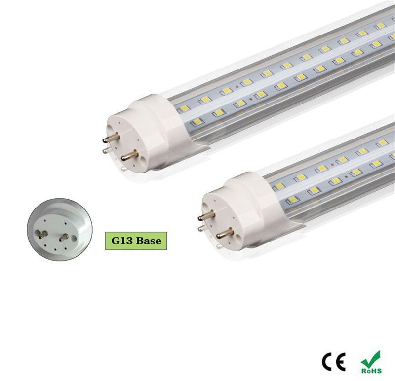 LED T8 튜브 더블 행 2FT 3 피트 4FT LED 조명 18W 28W 36W SMD2835는 형광 조명이 투명 커버를 램프 주도
