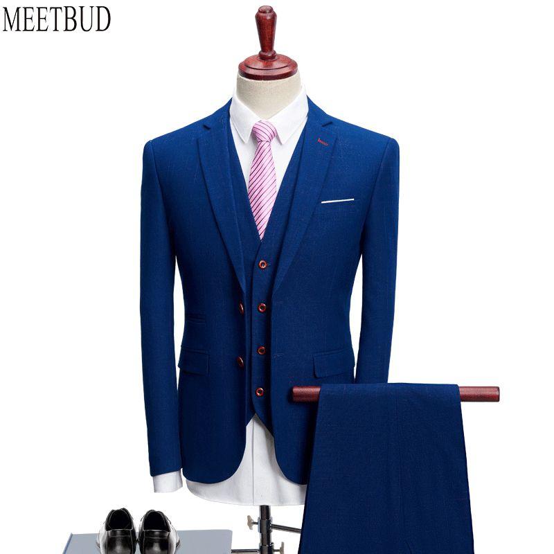 MEETBUD Fashion men suit for wedding slim fit prom party man dark blue business casual suits dress (jacket+pants+vest) 3 pieces