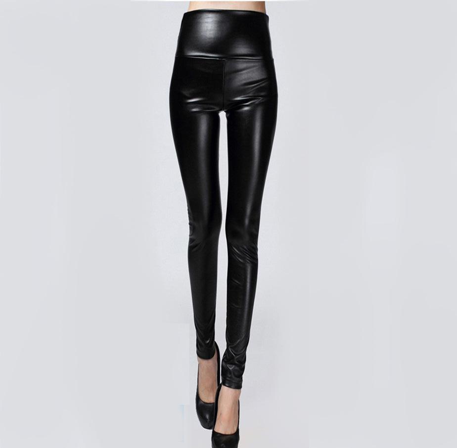 Sonbahar Kış Kadın Sıkı Tayt PU Giysi Skinny Kalem Tayt Seksi Ince Polar Pantolon Faux Deri Pantolon