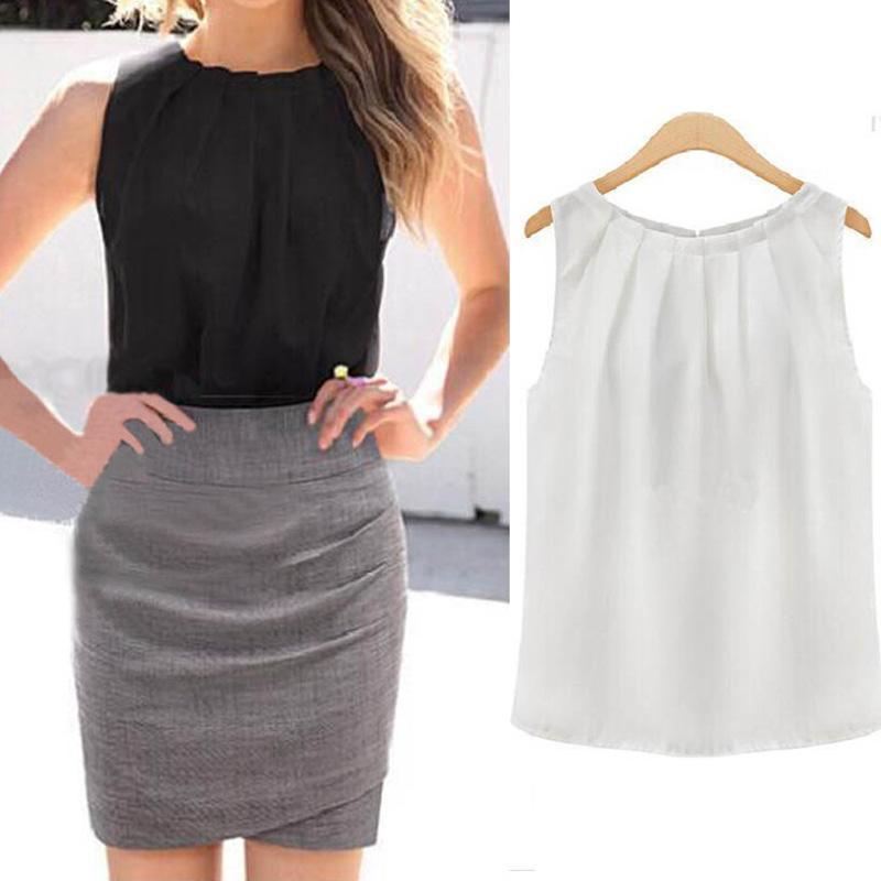 Femmes Tops Blouses Blanc Noir Sans Manches Col O En Vrac Blouses Shirt Plus La Taille 2018 D'été Chaud Dropship Office Dame