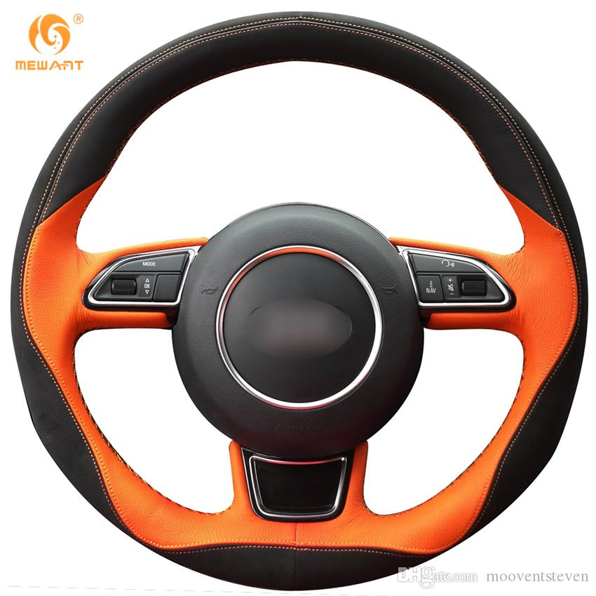 MEWANT Black Suede Black Orange Leather Car Steering Wheel Cover for Audi A7 A5 A3 A1